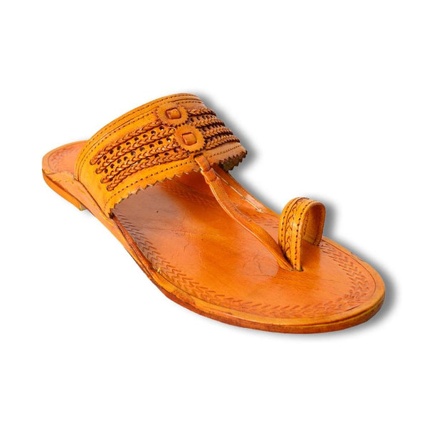 Men Tan Leather Cut-Out Kolhapuris