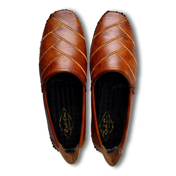 Men Tan Shoe-Style Sandals With Laser Cuts