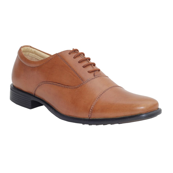 Tan Genuine Leather Oxford Lace-up Shoes