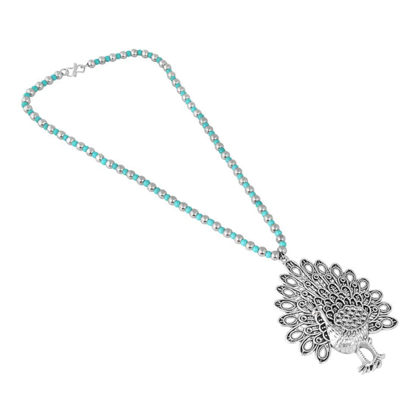 Temple Jewellery Peacock Design Silver Necklace