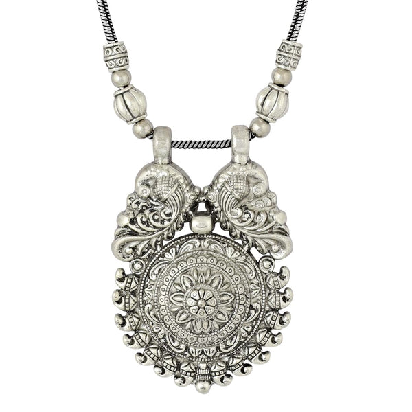 Temple Jewellery Peacock Design Silver Tribal Oxidized Necklace