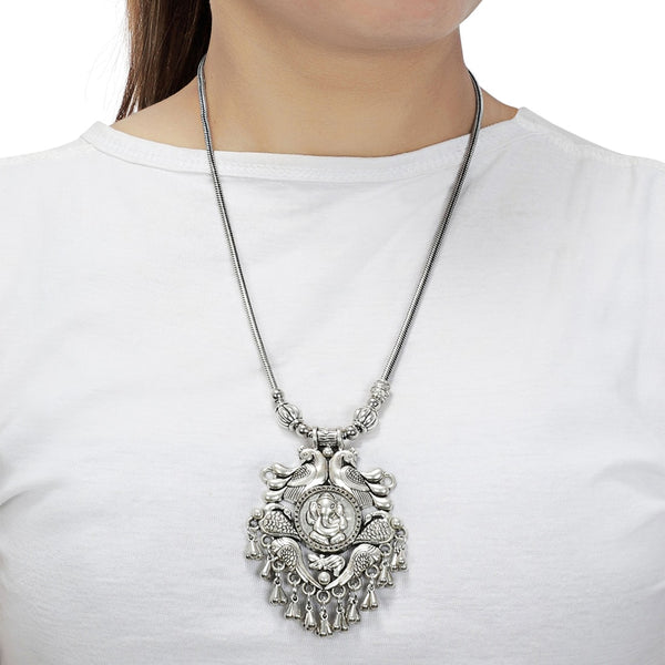Temple Jewellery & Peacock Design Silver Necklace