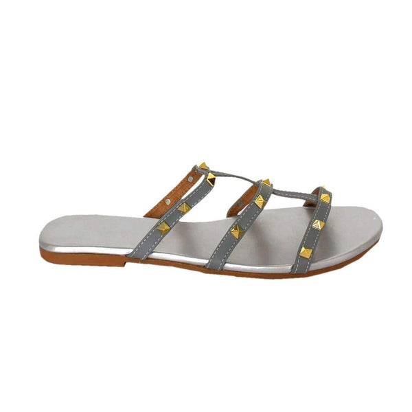 Women's Three-Strap Silver Flat Sandal Footwear
