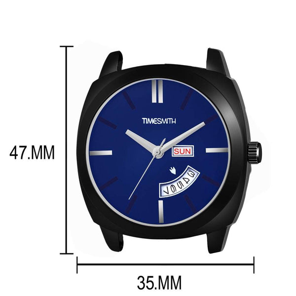 Day Date Blue Leather Blue Dial Watch For Men