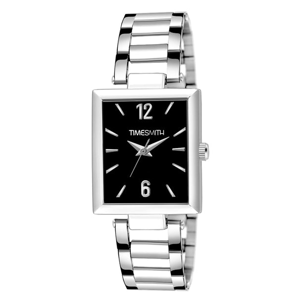 Silver Stainless Steel Black Dial Watch For Men