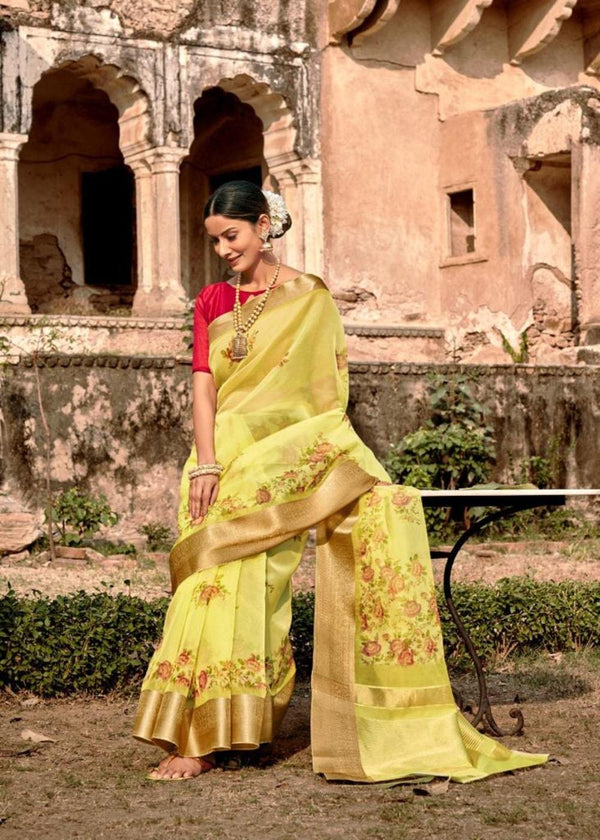 Tissue Silk Organza Yellow Floral printed Saree