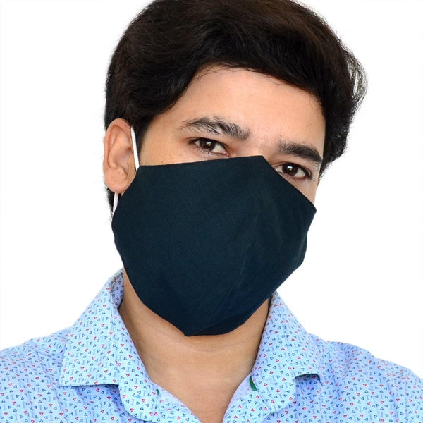 Unisex Navy Blue Solid Reusable Protective Outdoor Face Mask