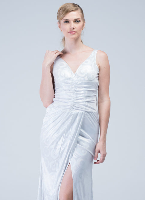 Old Hollywood Glamour Silver Gown