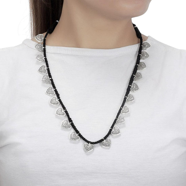 Rajasthani Jewellery with Leave Balls Silver Necklace Jewellery Tribal Oxidized Necklace for Womens