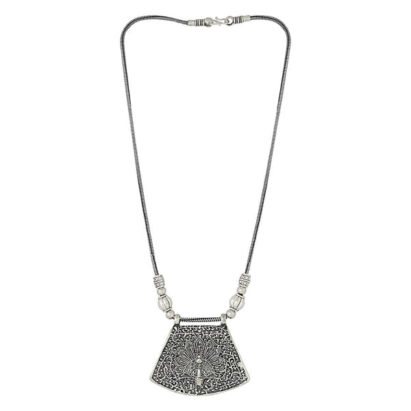 Oxidised Silver-Plated Peacock Design Traditional Stone Studded Afghani Tribal Necklace For Women and Girls