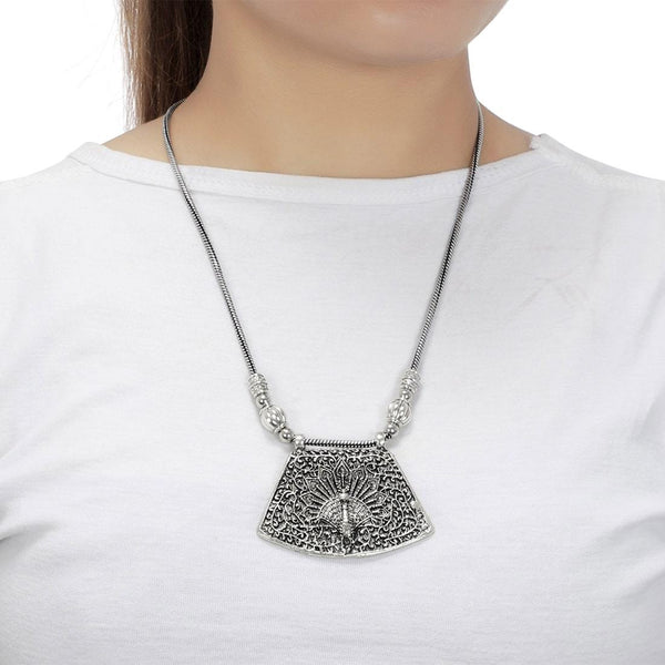 Oxidised Silver-Plated Peacock Design Traditional Tribal Necklace