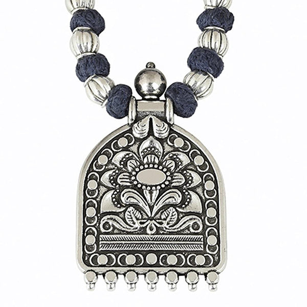 Oxidised Silver-Plated Floral Stone Studded Afghani Tribal Necklace For Women and Girls