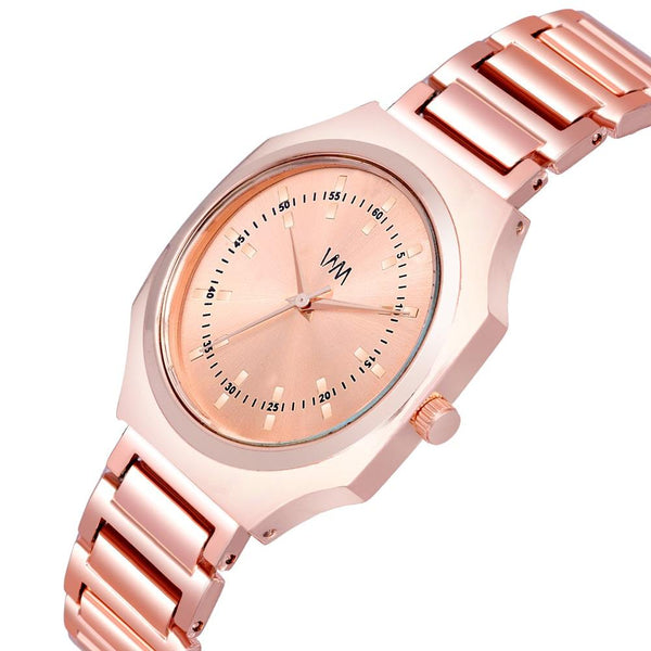 Rose Gold Stainless Steel Rose Gold Dial Watch For Women