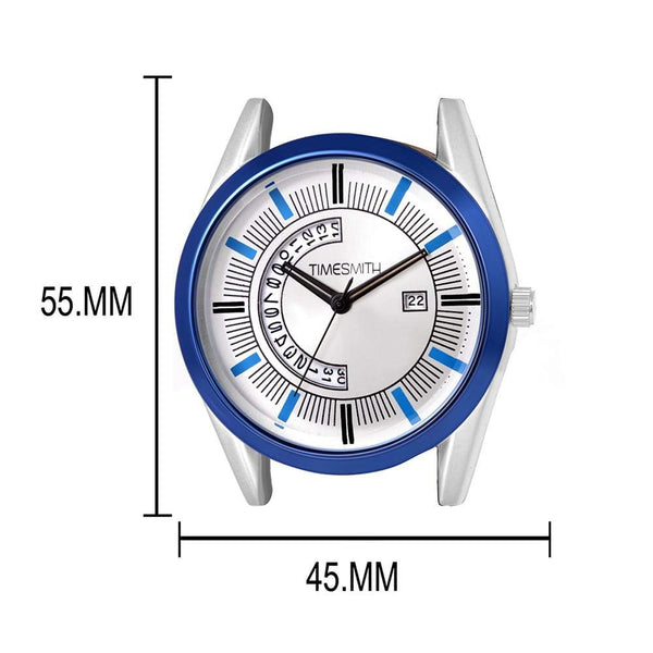 White Dial Blue Leather Analog Watch for Men