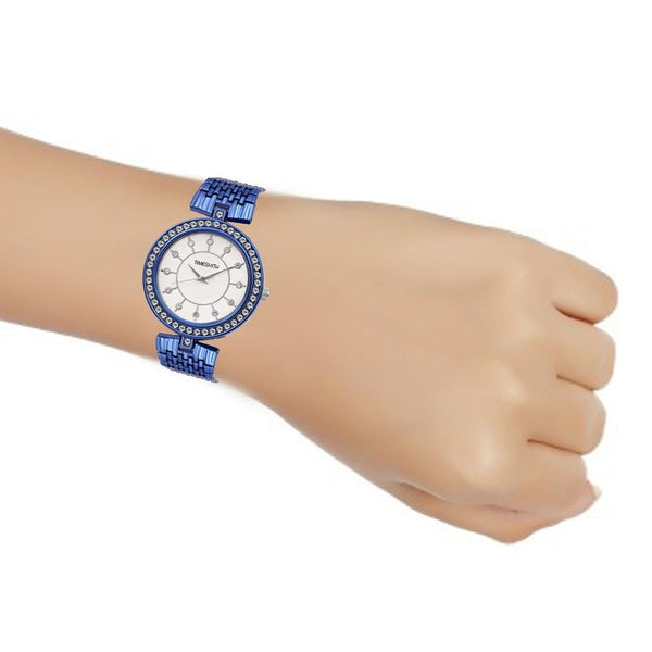White Dial Blue Stainless Steel Strap Branded Analog Watch for Women