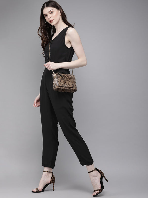 Women Black Solid Tapered Fit Basic Jumpsuit With Tie-Up Detailing