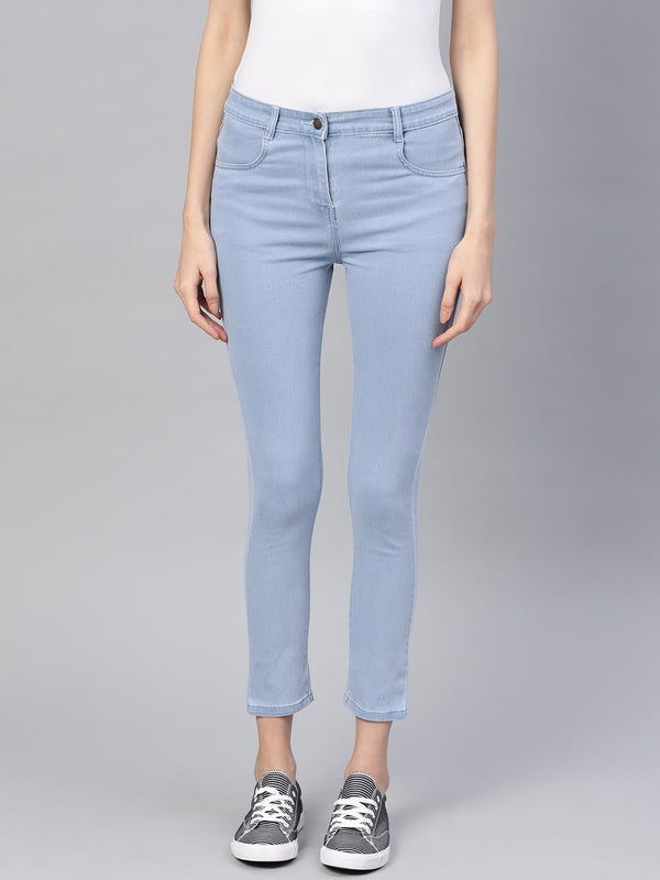Women Blue Slim Fit Mid-Rise Clean Look Stretchable Cropped Jeans