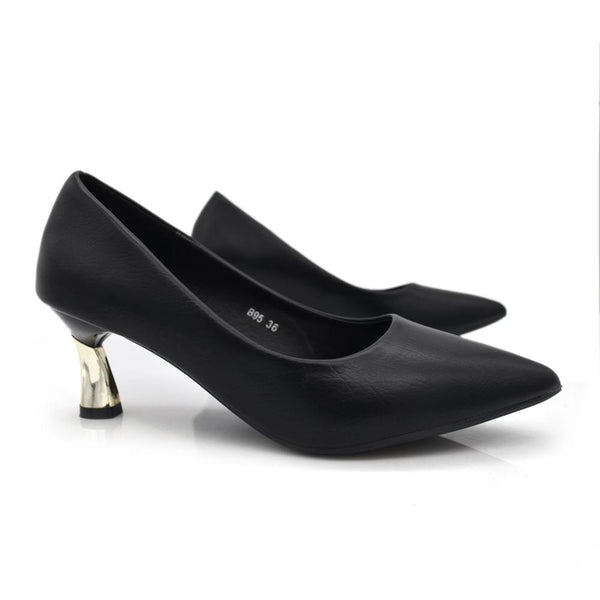 Women Black Metallic Kitten Heel Pumps