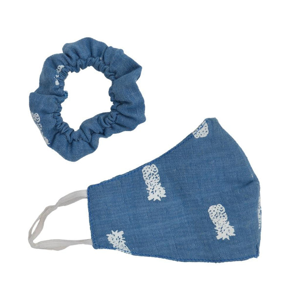Women Blue Reversible Face Mask with Pouch & Hair Scrunchie