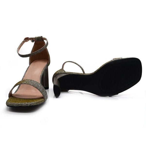 Women Brown Shimmer Slim Heels