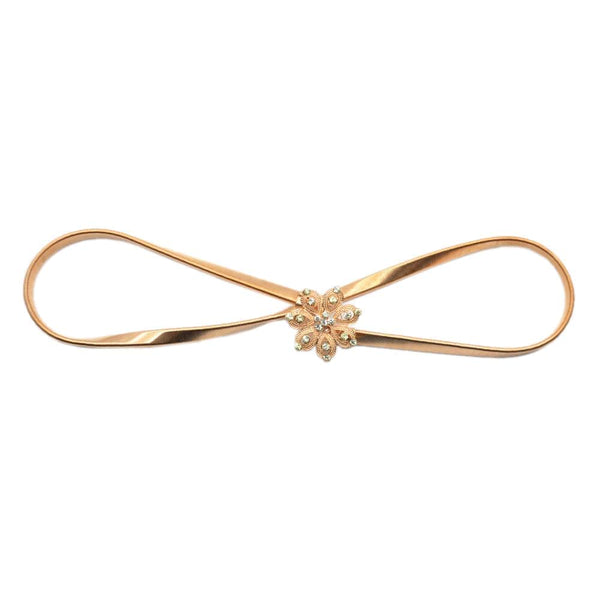 Women Embellished Golden Flower Buckle Metallic Elasticated Waist Belt