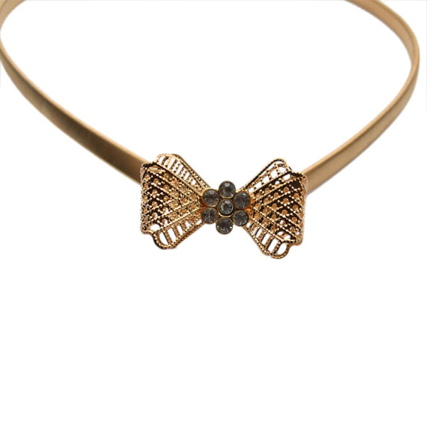 Women Gold Embellished Bow Design Metallic Elasticated Waist Belt