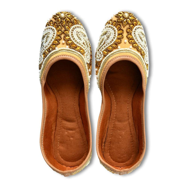 Women Gold & Off-White Beaded Embellished Mojaris
