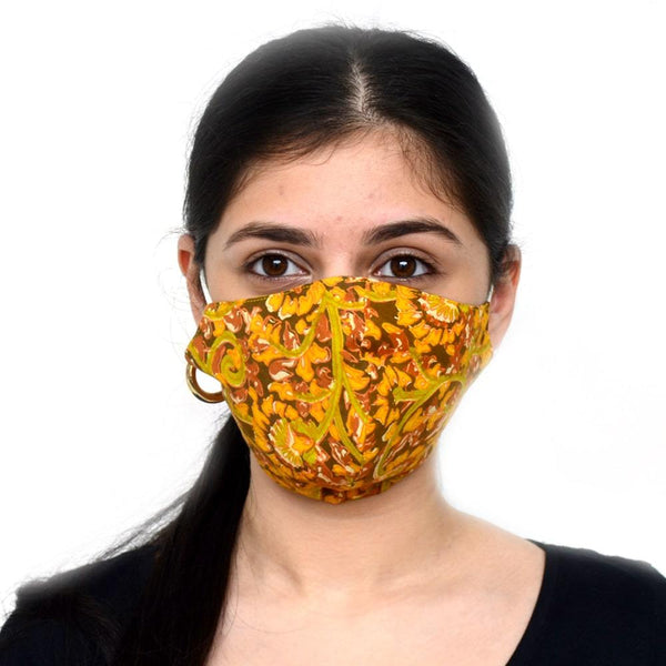Women Yellowish Multicoloured Flowered Printed Reusable Protective Fashion Mask