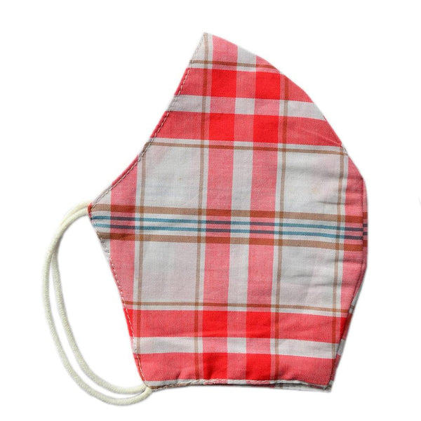 Unisex Red & White Checked Solid Reusable Protective Outdoor Face Mask