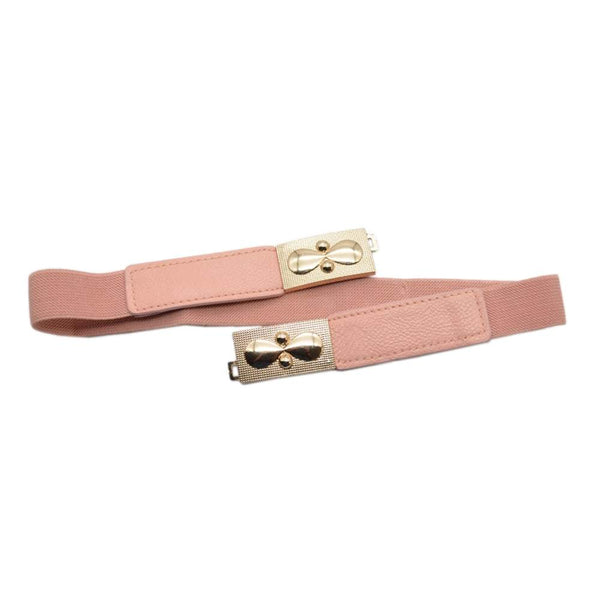 Women Pink Leather Elasticated Waist Belt with Ornate Buckle