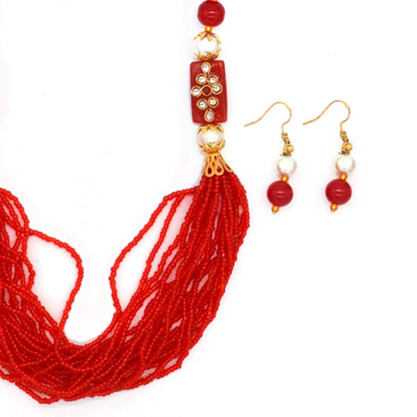 Women Red & White Pearl Beaded Handcrafted Jewellery Set