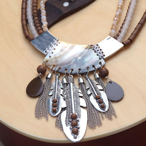Women Silver & Brown-Coloured Antique Oxidised Design Tribal Handcrafted Necklace