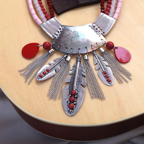 Women Silver & red-Coloured Antique Oxidised Design Tribal Handcrafted Necklace