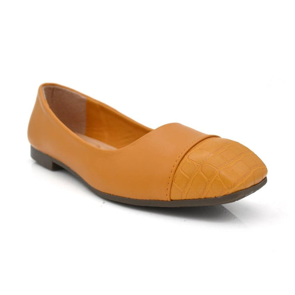Women Yellow Textured Faux Leather Ballerinas
