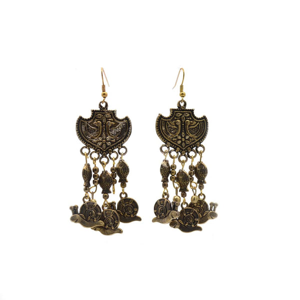 Women's Golden Oxidised Earring