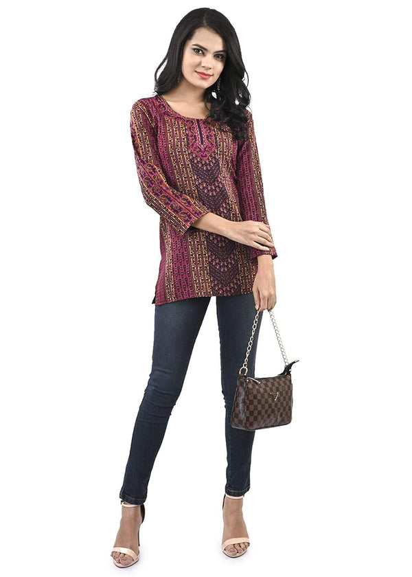 Women's Regular Printed Pink and Purple Short Kurti