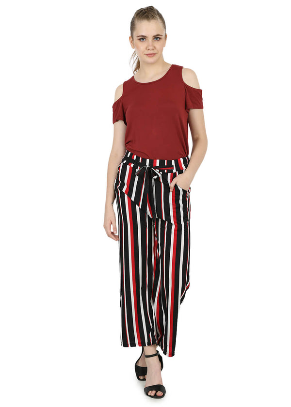Regular Black & Red Womens Trouser - Stripes