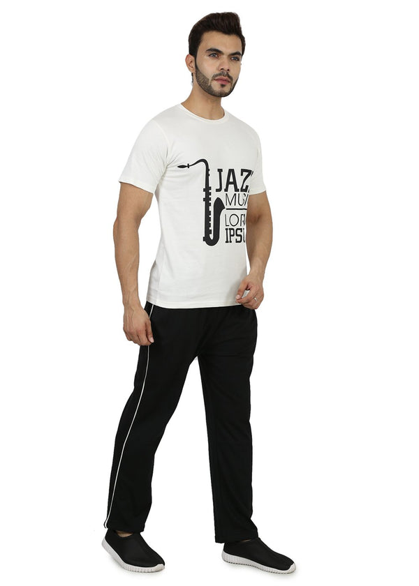 Mens Cotton White & Black T-Shirt & Pyjama Set