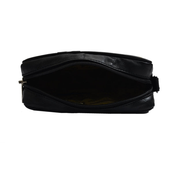 YZBuyer Black Genuine Leather Pouch for Men - WLT116
