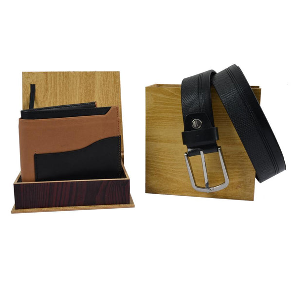Brown-black wallet and belt