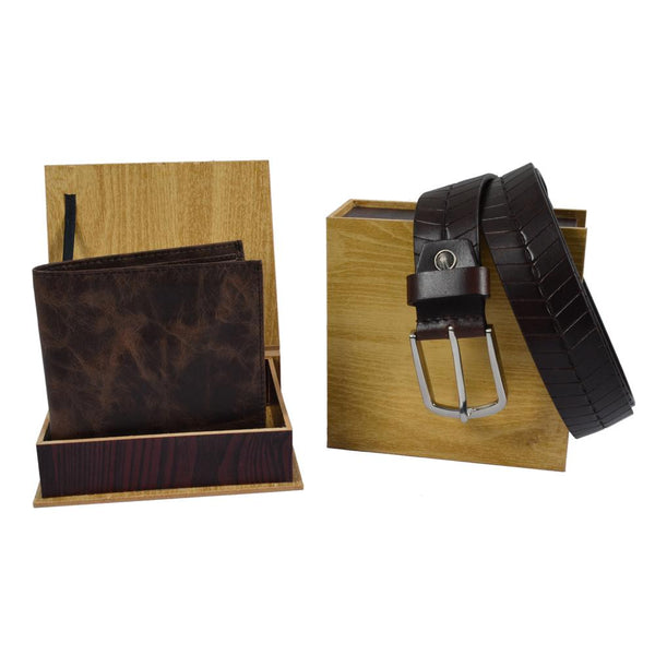 Brown wallet and belt