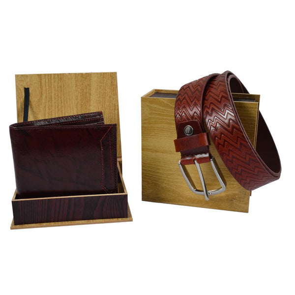 Brown wallet and belt combo