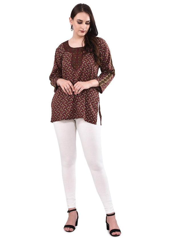 Brown Printed Tunic Kurti