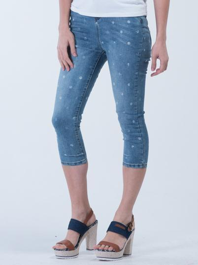 Slim fit White Dot Crop Jeans - Stone washed Blue - Women Jeans - yz-buyer.myshopify.com