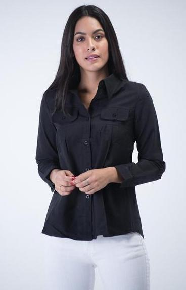 Long sleeve Denim shirt with dual front pockets - Black - Women Shirts - yz-buyer.myshopify.com