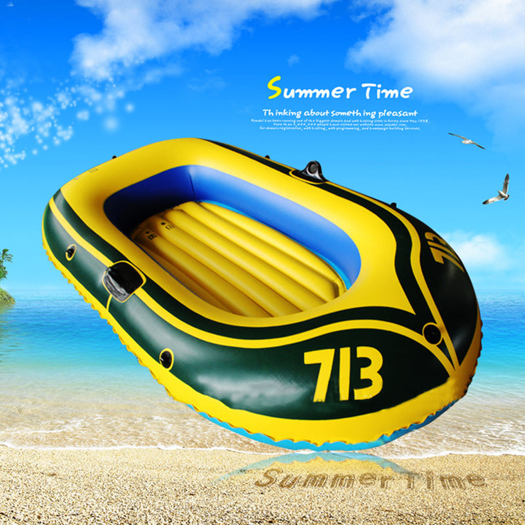 1 Set 2 Person PVC Rubber Boat for River Stream Lake Fishing Inflatable Boat 175x115cm with Paddles Pump Patching Kit and Rope
