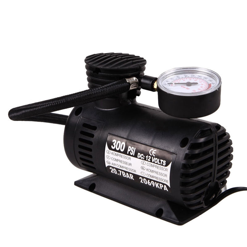 12V Micro Car Air Pump Auto Air Compressor Electric Tire Inflator Black