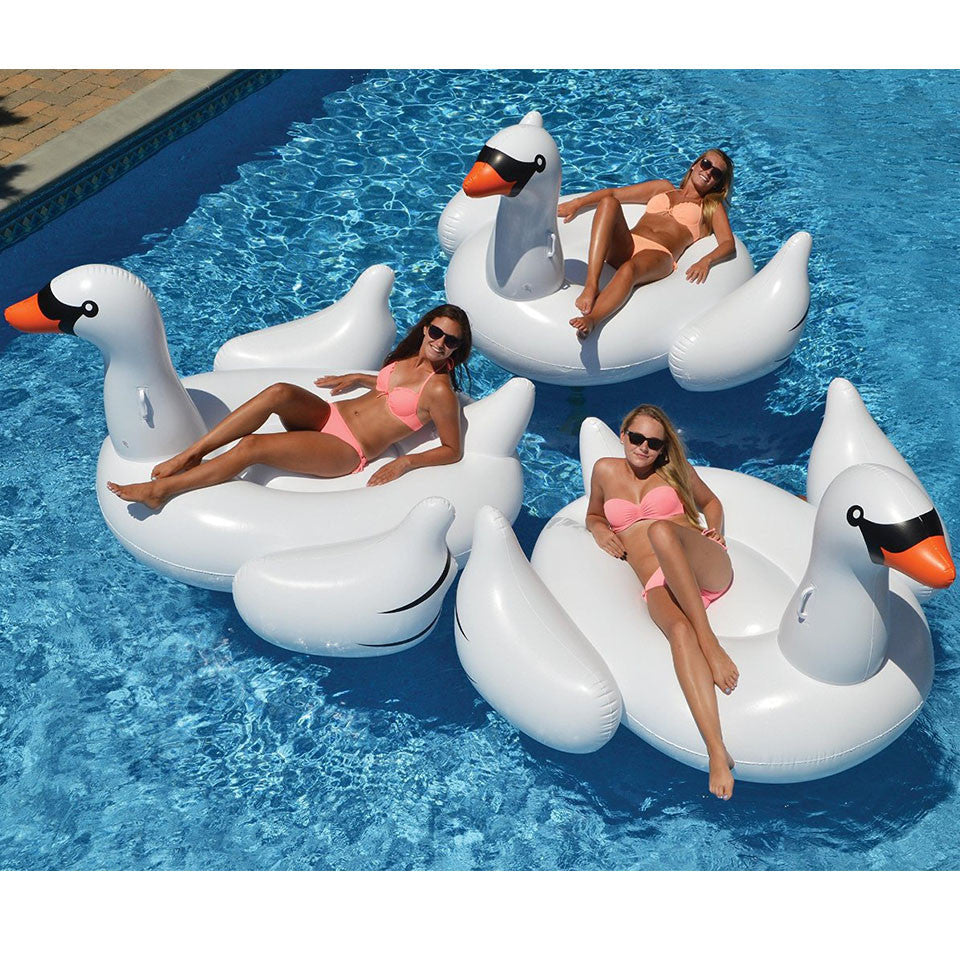 150cm Giant Inflatable Swan Flamingo Ride-On Pool Toys Float Inflatable Swan For Pool Swim Ring Water Fun Pool New Toys Wholease