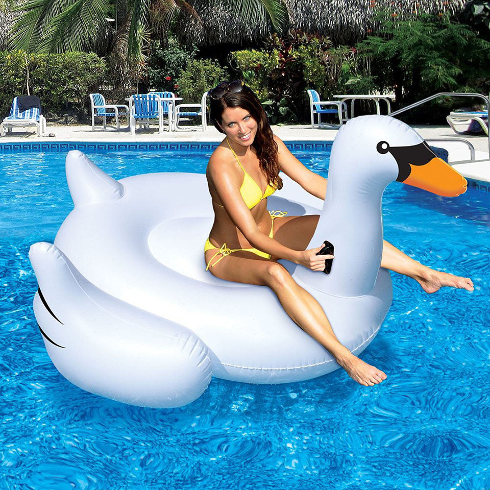 Inflatable Table 150cm Giant Inflatable Swan Flamingo Ride On Pool Toys Float