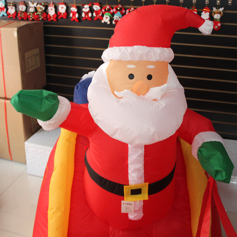 210Cm Inflatable Santa Claus Elks Gold Car With Gift Christmas Toy Large Photo Props Children Adult Inflating Toys TD0053